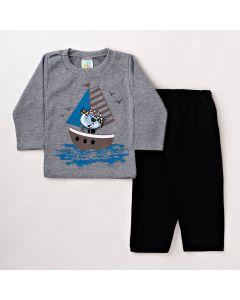 Conjunto Infantil Masculino Longo Blusa Cinza com Estampa e Calça de Moletom Preta