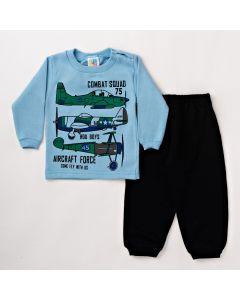 Conjunto Infantil Masculino Longo Blusa Azul com Manga e Calça de Moletom Preta