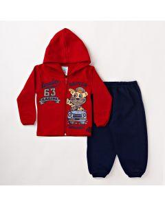 Conjunto Infantil Masculino com Jaqueta Vermelha com Capuz e Calça Azul Marinho