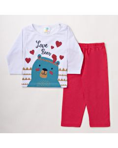 Conjunto Infantil Feminino com Blusa Branca com Estampa de Urso e Calça Rosa