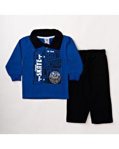Conjunto Infantil Masculino Blusa Polo Azul e Calça Preta em Moletom