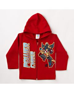 Jaqueta Infantil Masculina Vermelha em Moletom com Capuz