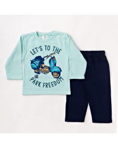 Conjunto Infantil Masculino Comprido Blusa Verde e Calça Azul Marinho