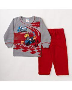 Conjunto Masculino Infantil Inverno Blusa Cinza e Calça Vermelha de Moletom