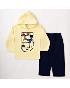 Conjunto Infantil Masculino Inverno Blusa Amarela com Capuz e Calça Azul em Moletom