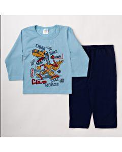 Pijama Infantil Masculino Inverno Azul com Estampa