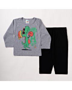 Pijama Infantil Masculino Blusa Manga Longa com Calça Preta