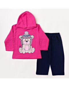 Cojunto Infantil Feminino Inverno Blusa com Capuz Rosa e Calça Azul