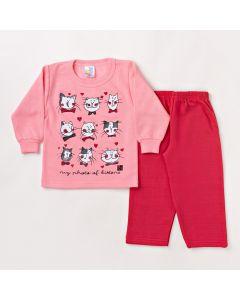 Conjunto Infantil Feminino Inverno Blusa Manga Longa Rosa e Calça Pink