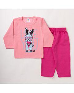 Conjunto Infantil Feminino para o Frio Calça em Moletom e Blusa Rosa
