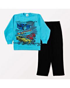 Conjunto Infantil Blusa Azul com Manga e Calça Preta em Moletom Masculino
