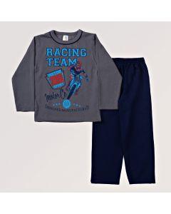 Conjunto Infantil em Moletom Blusa Cinza e Calça Azul Marinho Masculino