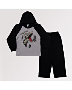 Conjunto Infantil Masculino Blusa Preta e Cinza com Capuz e Calça em Moletom
