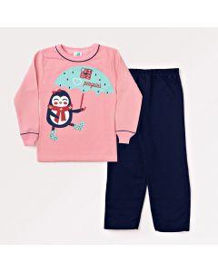 Conjunto Infantil de Inverno Feminino com Blusa Rosa e Calça Azul Marinho