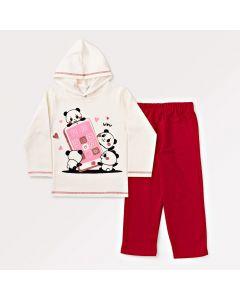 Conjunto Infantil de Inverno Feminino com Blusa Branca com Capuz e Calça Rosa