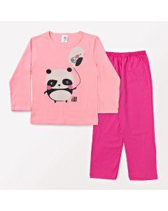 Pijama Infantil Feminino Rosa Blusa Estampada Panda e Calça em Meia Malha