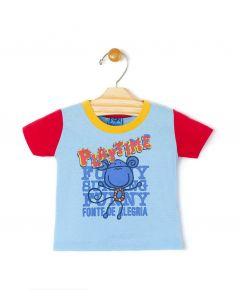 Camiseta Playtime Malha Azul Bebê