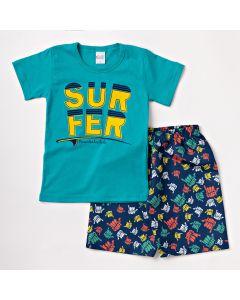 Conjunto Infantil Masculino Verão Bermuda Marinho Estampada e Camiseta Verde