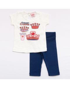 Conjunto Curto Lik Kids Blusa Princess em Meia Malha Marfim e Calça Capri em Cotton Marinho