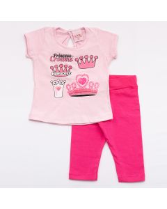 Conjunto Curto Lik Kids Blusa Princess em Meia Malha Rosa e Calça Capri em Cotton Pink