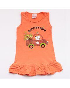 Vestido Lik Kids Adventure em Meia Malha Laranja