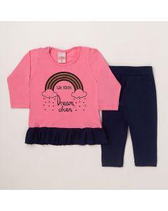 Conjunto Longo Lik Kids Blusa Dream Rosa em Meia Malha e Calça Legging Marinho em Cotton