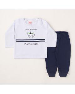 Conjunto Longo Lik Kids Blusa Cat Unicorn Branco e Calça Básica Marinho em Moletom