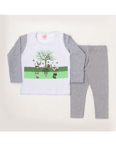 Conjunto Longo Lik Kids Casaco Animals Branco em Moletom e Calça Legging Mescla em Cotton