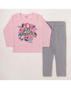 Conjunto Longo Lik Kids Blusa Girl Power Rosa em Meia Malha e Calça Legging Mescla em Cotton