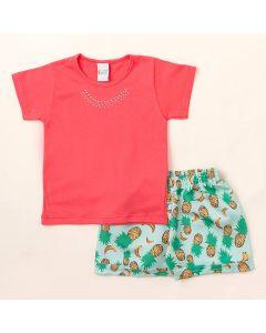 Conjunto Infantil Feminino Verão Short Estampado Abacaxi e Blusa Rosa