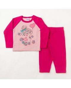 Conjunto Longo Infantil Hlerinha Blusa Girl Rosa e Calça em Moletom Pink