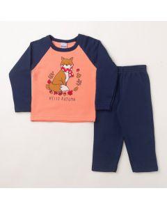 Conjunto Longo Infantil Hlerinha Blusa Estampada Rosa e Calça em Moletom Marinho