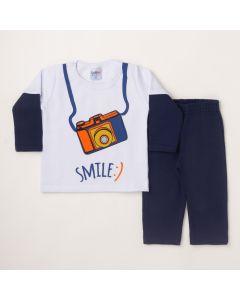 Conjunto Longo Lik Kids Casaco Smile Branco e Calça Básica Marinho em Moletom