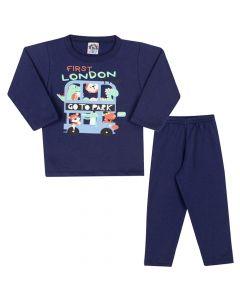 Conjunto Longo Blusa London Park e Calça em Moletom Marinho