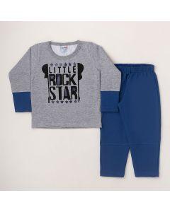Conjunto Longo Lik Kids Casaco Rock Star Cinza e Calça Básica Azul em Moletom