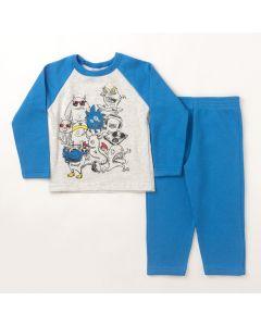 Conjunto Longo Infantil Hlerinha Blusa Estampada Mescla e Calça em Moletom Azul