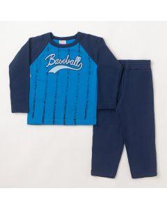 Conjunto Longo Infantil Hlerinha Blusa Baseball Azul e Calça em Moletom Marinho