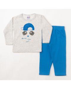 Conjunto Longo Infantil Hlerinha Blusa Estampada Cinza e Calça em Moletom Azul