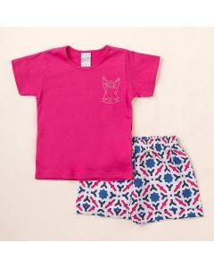 Conjunto Infantil Feminino Verão Shorts Branco Estampado e Blusa Pink com Strass