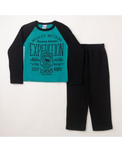Conjunto Longo Infantil Hlerinha Blusa Expedition Azul e Calça em Moletom Preto