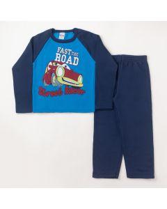 Conjunto Longo Infantil Hlerinha Blusa Street Racer Azul e Calça em Moletom Marinho