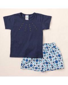 Conjunto Infantil Feminino Curto Blusa Azul Marinho e Shorts Estampado