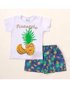 Conjunto de Verão Infantil Feminino Blusa Branca Abacaxi e Shorts Azul Estampado