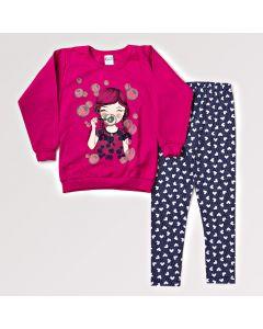 Conjunto Feminino com Legging Infantil Estampada e Blusa Rosa Manga Longa