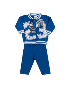 Conjunto Longo Clubinho Kids Jaqueta Basketball e Calça em Moletom Azul