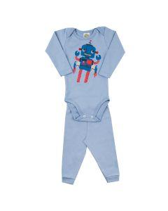 Conjunto Longo Clubinho Kids Body e Calça em Ribana com Lycra Azul