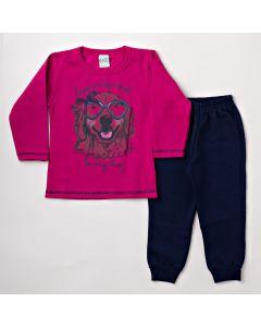 Conjunto de Inverno Feminino Infantil com Blusa Pink e Calça Azul Marinho