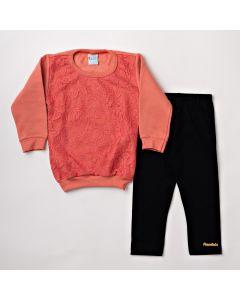 Conjunto de Inverno Feminino Infantil com Blusa Renda Laranja e Legging Preta