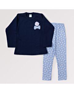 Conjunto Infantil Feminino Legging Estampada e Blusa Azul Marinho com Laço