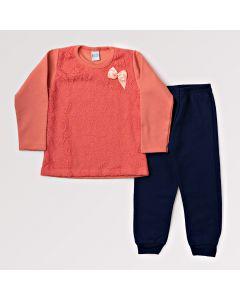 Conjunto Feminino Infantil Blusa Laranja com Renda e Calça Azul Marinho